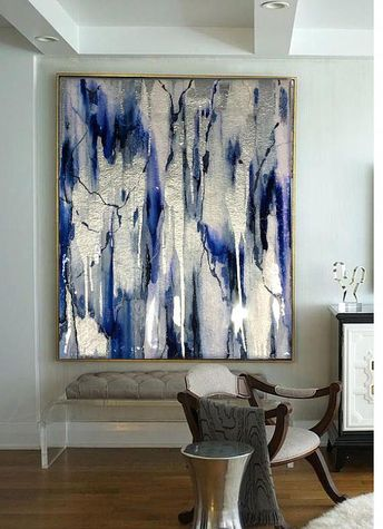 Sold-Acrylic Abstract Art, Abstract Painting, Resin Painting, Blue Painting, Silver Painting, Ikat Painting, Silver Leaf Painting with Resin