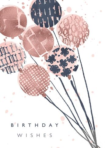 Rebecca Prinn - RP Gold Pink Blue Mark Making Birthday Balloons