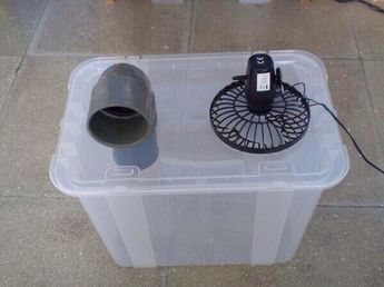 Use a battery operated fan, use a block of ice in the tub. Perfect a/c for in the car if you must keep conditions cool for a dog. Use thermometer to verify temps.