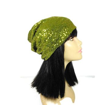 2ced070721e Green Sequin Slouchy Beanie Chartreuse Sequin Slouch Hat Tiny Green Sequin  Hat Sequin Hats for Hair