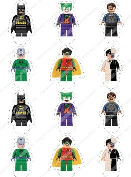 Cakeshop 12 x PRE-CUT Lego Batman Stand Up Edible Cake Toppers - Premium Wafer Paper