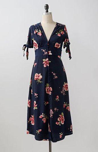 0719d80e8d49f0 Feminine Vintage Inspired Dress   Floral Midi Dress   Rose Verite Dress
