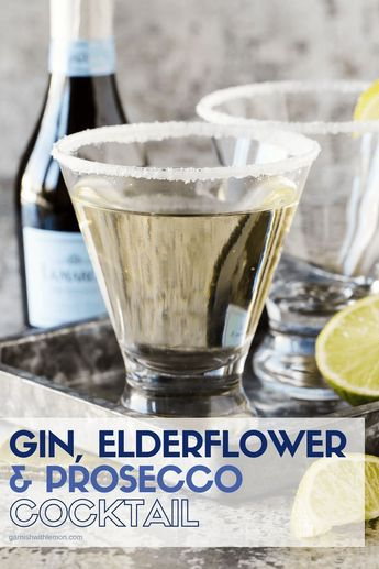 Gin, Elderflower and Prosecco Cocktails add cheer to any party menu! You can't go wrong when you add bubbles and elderflower to a gin cocktail! #gin #elderflower #prosecco #cocktails #drinks