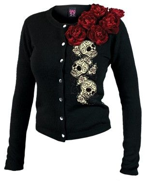 Lucky 13 Cardigan with Velvet Roses & Sugar Skulls by vicky