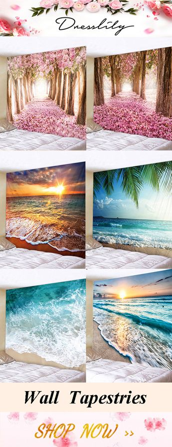 Dresslily Flower Trees Avenue Print Tapestry Wall Hanging Decoration, Sunrise Beach Waves Print Tapestry Wall Hanging Art. #dresslily #homedecor