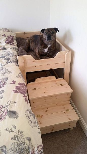 The Benson Co Sleeper Wooden Raised Dog Bed with Storage Steps #dogbed