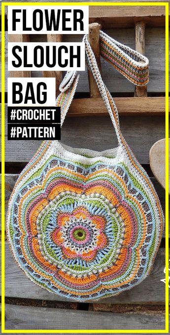 crochet Boho Flower Slouch Bag pattern