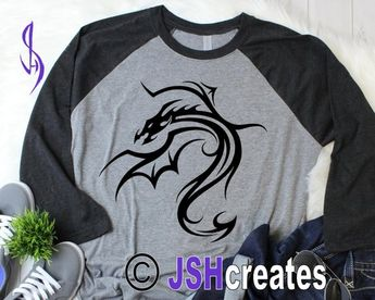 0d263e101 Tribal Dragon svg, Dragon svg, EPS, DXF, Serpent, Dragon, Silhouette