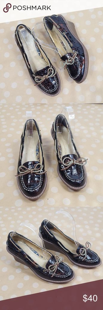 57b6bb13bd SPERRY TOPSIDERS Tortoise Leather Wedge Loafers Super comfy patent tortoise  leather wedges have a rubber wedge