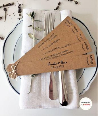 Menu éventail personnalisé en kraft, pour une décoration de mariage champêtre unique !