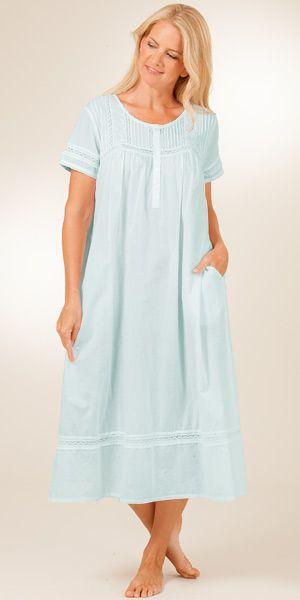 La Cera Cotton Short Sleeve Nightgown in Pearl Innocence - Blue 4da6df611