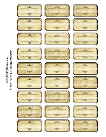 Antique Sepia Blank Spice Labels digital collage sheet 300dpi 2x1 EDITABLE PDF INCLUDED