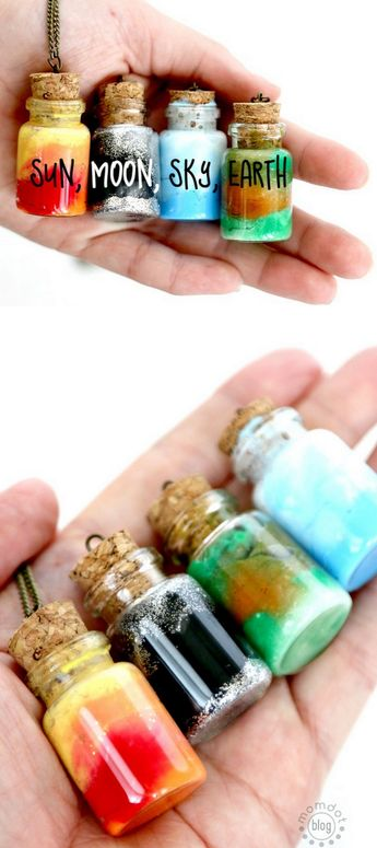 DIY Sun Moon Sky Earth Bottle NecklacesYou could make these jars to resemble any planet or star in an imaginary solar system. These DIY Sun/Moon/Sky/Earth Bottles are made the exact same way as Nebula Bottles - with cotton, paint and glitter. Add an...