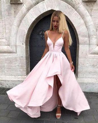 Satin Spaghetti Straps Prom Dresses V Neck Pink Evening Dresses Online