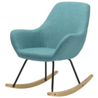 NORTON Fauteuil Rocking Chair en tissu bleu - Pieds bascule en bois et métal - Vintage - L 69 x P 76,3 cm - Achat / Vente fauteuil Bleu Structure en métal-Pieds en métal et bois massif-Revêtement en tissu - Cdiscount