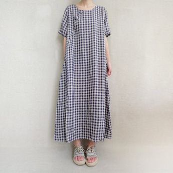Women Plaid Dress Linen Caftan, Comfortable Dress Summer Linen Plaid Tunic Vintage Causal Cotton Dre