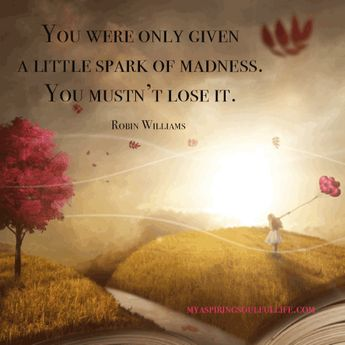 """Don't ever lose your spark! """"You were only given a little park of madness. You mustn't lose it. ~Robin Williams~ For more inspiration visit myaspringsoulfullife.com.  Just click on the visit link! #myaspiringsoulfullife #soulfood #inspiration #motivation #quotes #robinwilliams #imagination #life"""