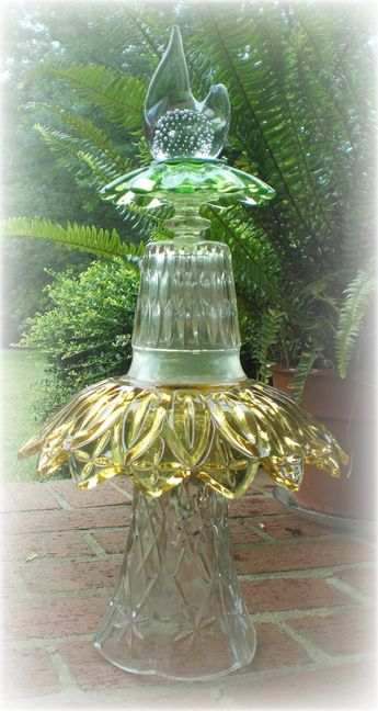 Garden Art Totem Vintage Glass With Partridge Topper