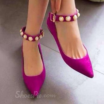 Gorgeous Suede Pointed-Toe Ankle Strap Comfort Flats With Rivets