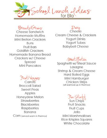 School Lunch Ideas for Kids - Free Printables