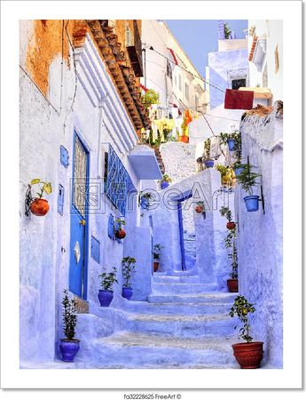 Free art print of Street with stairs in medina of moroccan blue town Chaouen