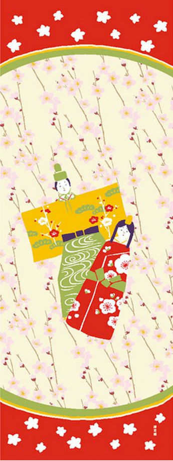 Japanese Tenugui cotton towel fabric. Girls Festival / doll + peach blossom design. High quality tenugui fabrics made of soft 100% cotton cloth and hand dyed by Japanese master dyers. [ H o w T o U s e ] * towel * washcloth * dishcloth * headband / bandanna * scarf * wall hanging