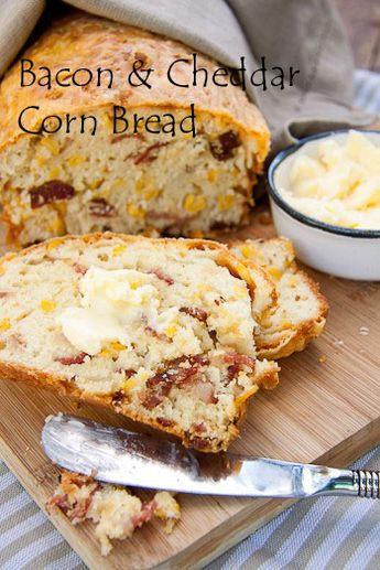 Bacon Cheddar Cornbread. I didn't have bacon on hand so I used Tastefully Simple's Bacon, Bacon. And I also didn't have canned corn so I used a steamed bag of frozen corn and put it in the food processor for a few seconds and folded that in!