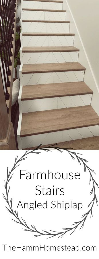Modern Farmhouse Stairs with Angled Shiplap - The Hamm Homestead