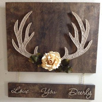 Beautiful string art deer antlers and lettering. All brass nails and hardware. Thank you for checking out my work. I will do any custom work for you with maybe 3-5 day turn around.