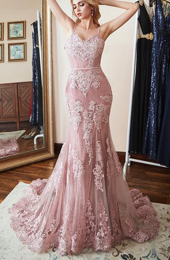 f246d53d3162 Mermaid Sweetheart Spaghetti Straps Long Tulle Lace Applique Prom Dress  Evening Gown