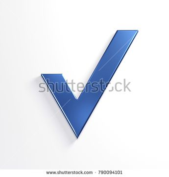 Check Mark. 3D Blue Render Illustration