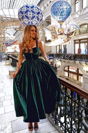 A-Line Straps Ankle-Length Dark Green Velvet Prom Party Dress