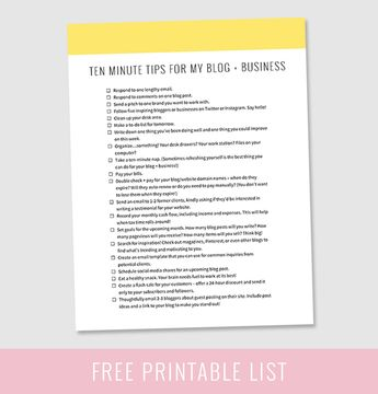 Ten Minute Tips for Your Blog + Business (Free Printable!)