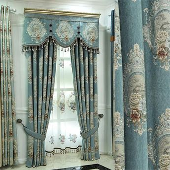 DIHIN HOME Retro Blue and Flowers Embroidered,Blackout Curtains Grommet Window Curtain for Living Room ,52x84-inch,1 Panel