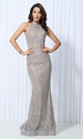 d04136cc53c Glam Affair Silver Nude Glitter Sleeveless Mock Neck Halter Maxi Dress  Evening Gown