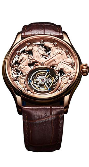 BOS Men's Tourbillon Mechanical 24K Gold Plated Personalized Custom Stainless Steel Watch Horse Skeleton Waterproof Dresses Watch Leather Band (Rose gold)