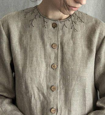 Linen Dress Embroidered loose linen dress linen women's