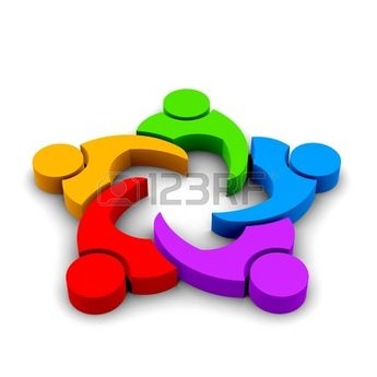 123RF logo 3D illustration teamwork meeting 5 group of people in color