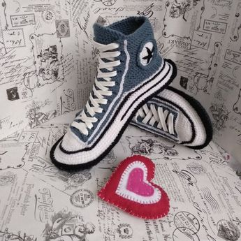 445f9eb40441a7 House slippers men 45 Converse socks slippers Crochet converse boots  Knitted converse sneakers Valentine s Day