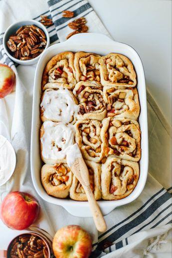 Apple Pecan Cinnamon Rolls with Cinnamon Cream Cheese Icing - College Housewife