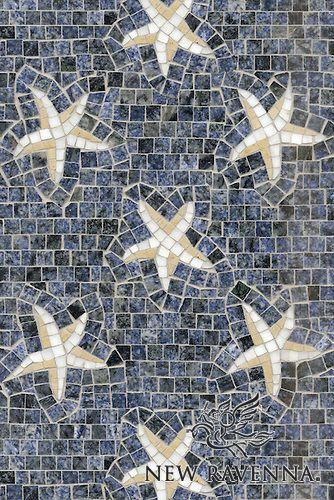 "Name: Seastars Style: Contemporary Product Number: CB0242SEASTARS (12""x18"") Description: Sea Stars, a hand cut natural stone mosaic, is shown in Blue Bahia, Calacatta Tia and Renaissance Bronze polished.  Copyright New Ravenna ®"
