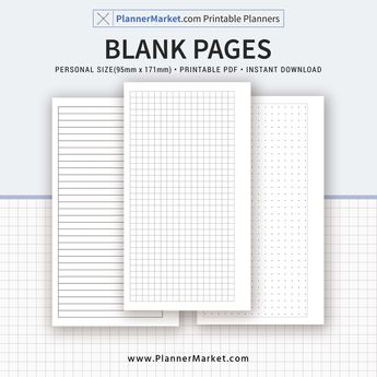 Blank Pages, Dots, Lines, Grid, Personal Size Inserts, Planner Refill, Planner Binder, Printable PDF, Instant Download