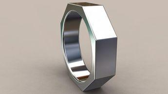 White Gold 6mm Mens Wedding Band Octagon 14kt Ring Bolt