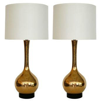 Gold Crackled Mercury Glass Lamps