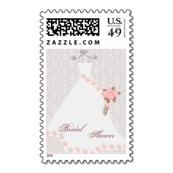 wedding dress and roses bridal shower postage