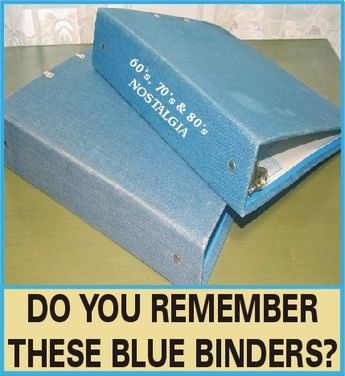 Blue, fabric-covered binders