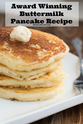 The BEST homemade buttermilk pancakes ever!! They melt in your mouth! ohsweetbasil.com