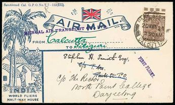 """India 1929 (May 20) Printed envelope to Darjeeling, flown on the first flight from Calcutta to Siliguri with violet """"BENGAL AIR TRANSPORT CO., LTD"""" cachet."""