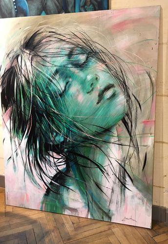 ewa hauton 150x120cm #painting drawing #oiloncanvas #green #face #grandformat #contemporaryart #atelier #instaart