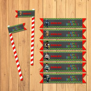 Roblox Straw Flags Chalkboard Favor Tags Party Printables